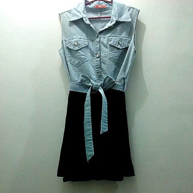 Denim And Black Pleated Dress