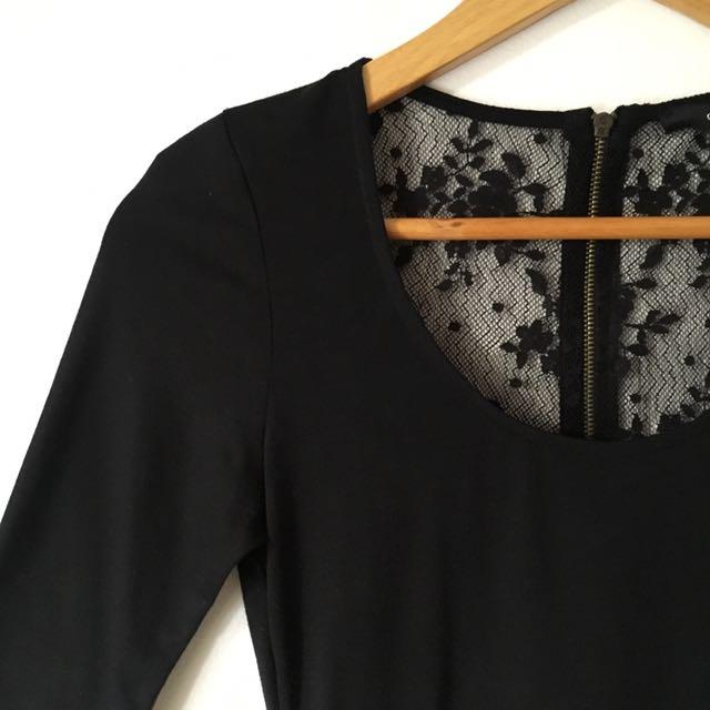 Details Black Lace Back Long Dress