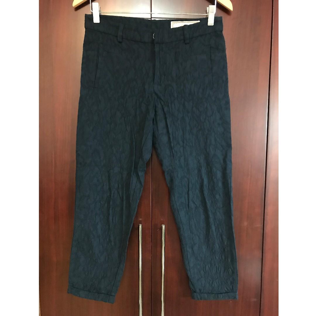 設計師品牌-e.n.a反摺緹花藍色七分褲