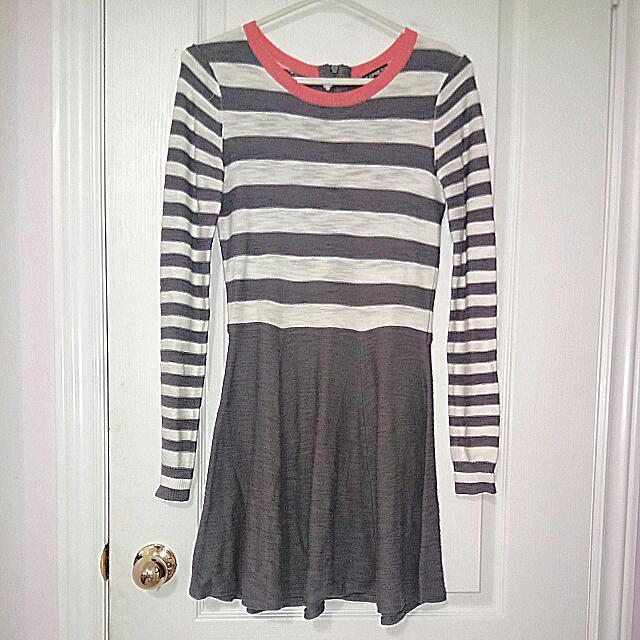 Express Striped Long Sleeve Dress