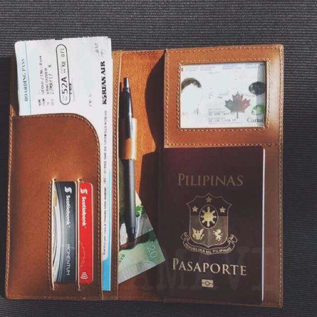 Genuine Leather Passport / Boarding Pass Travel Wallet