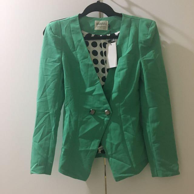 Green Polkadot Blazer