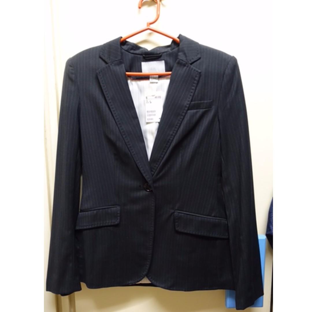 H&M Black Pinstriped Coat/Blazer SIZE 6 US