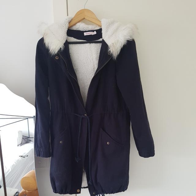Hooded Fur Jacket - Size 8