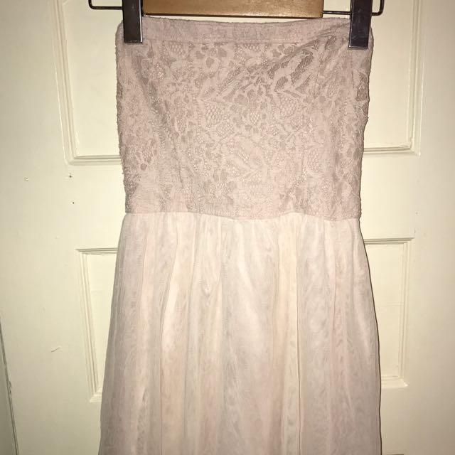 Light Pink Strapless Lace Dress