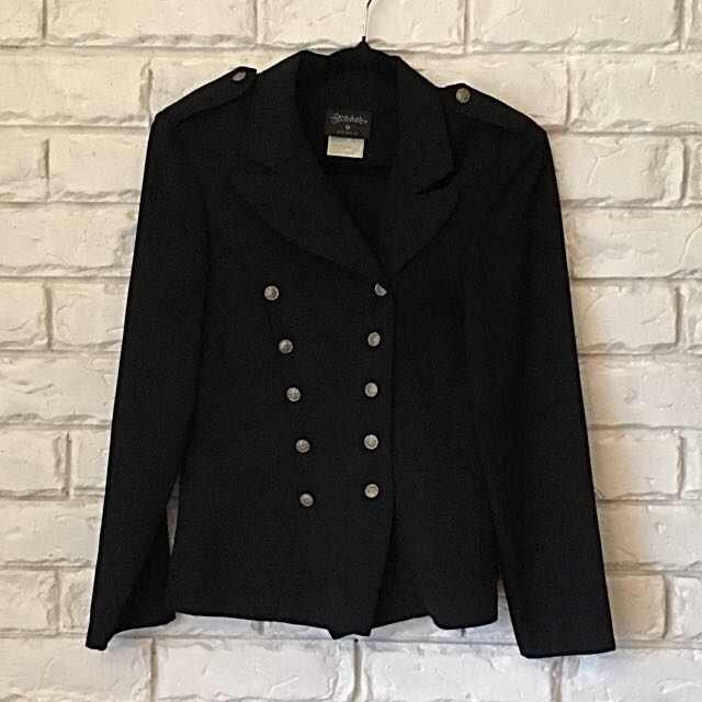 Military Style Double-Breasted Blazer