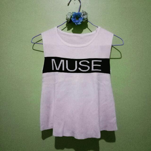 MUSE Sleeve Less Semi Crop Top