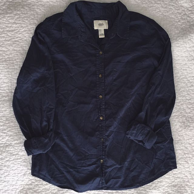Navy Blue Button Up Blouse