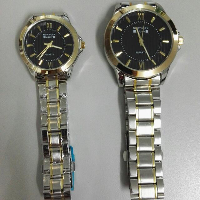 Newyork Army NYA192 Couples Two - Tone Black Dial Display Steel Watch