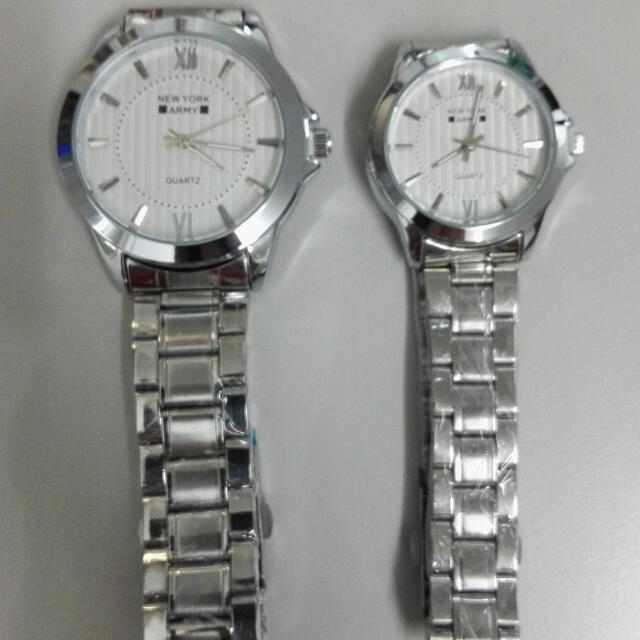 Newyork Army NYA 192 Couples Silver - Tone White Dial Display Steel Watch
