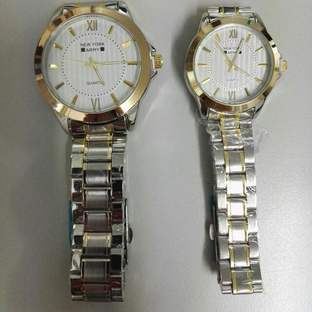 Newyork Army NYA 192 Couples Two - Tone White Dial Displat Steel Watch