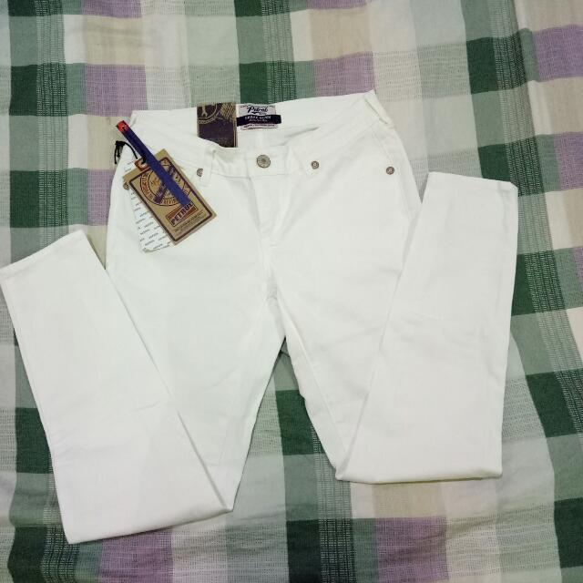 Petrol Skinny / Low Rise White Jeans