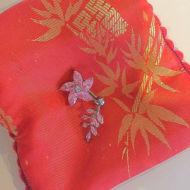 Pink Flower Belly button Stud