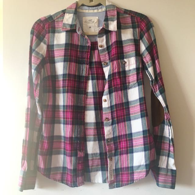 Plaid Shirt with Elbow Patch