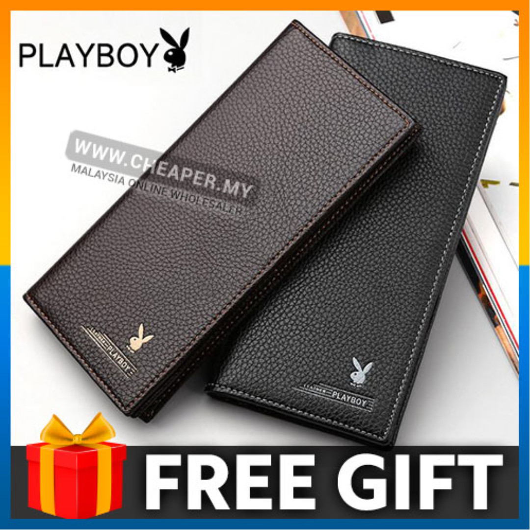 PLAYBOY Men Long Wallet Leather with 11 card slots free card knife
