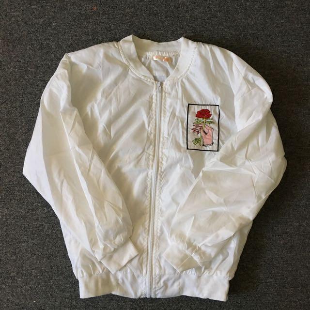Rose Embroidered Bomber Jacket