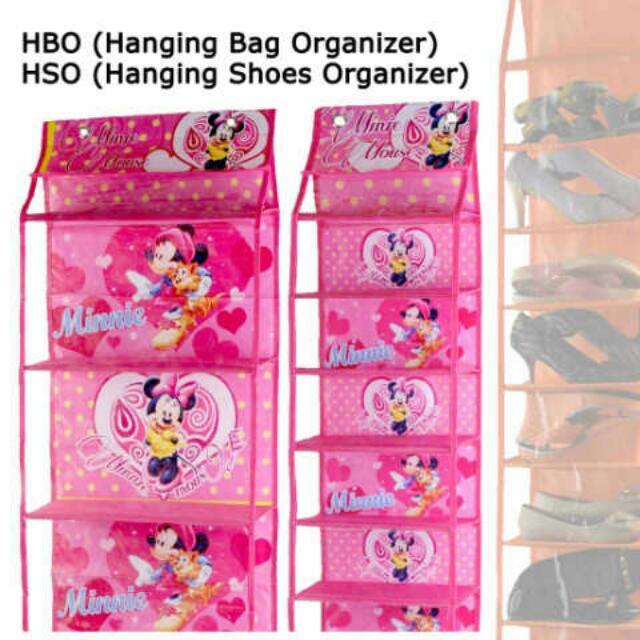 Set Rak Tas & Rak Sepatu Resleting Minnie Mouse