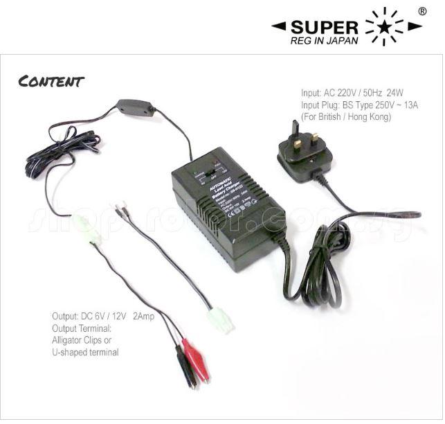 super 6v    12v lead acid automatic battery charger  input