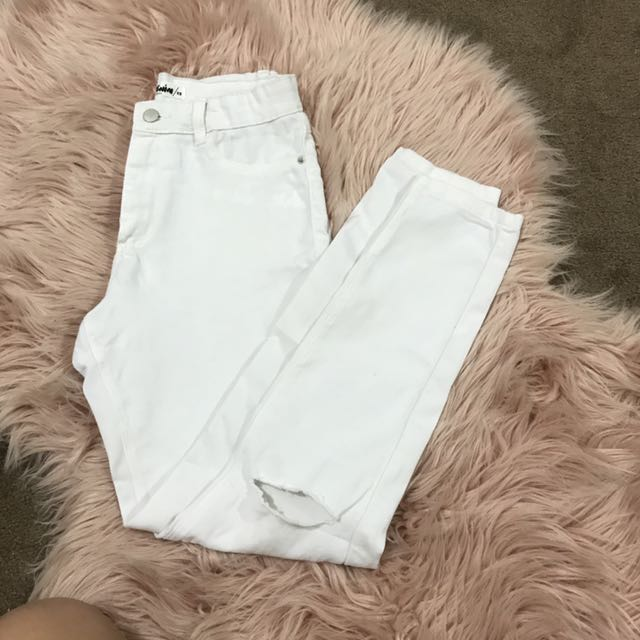 Supre Knee Slit  White Jeans