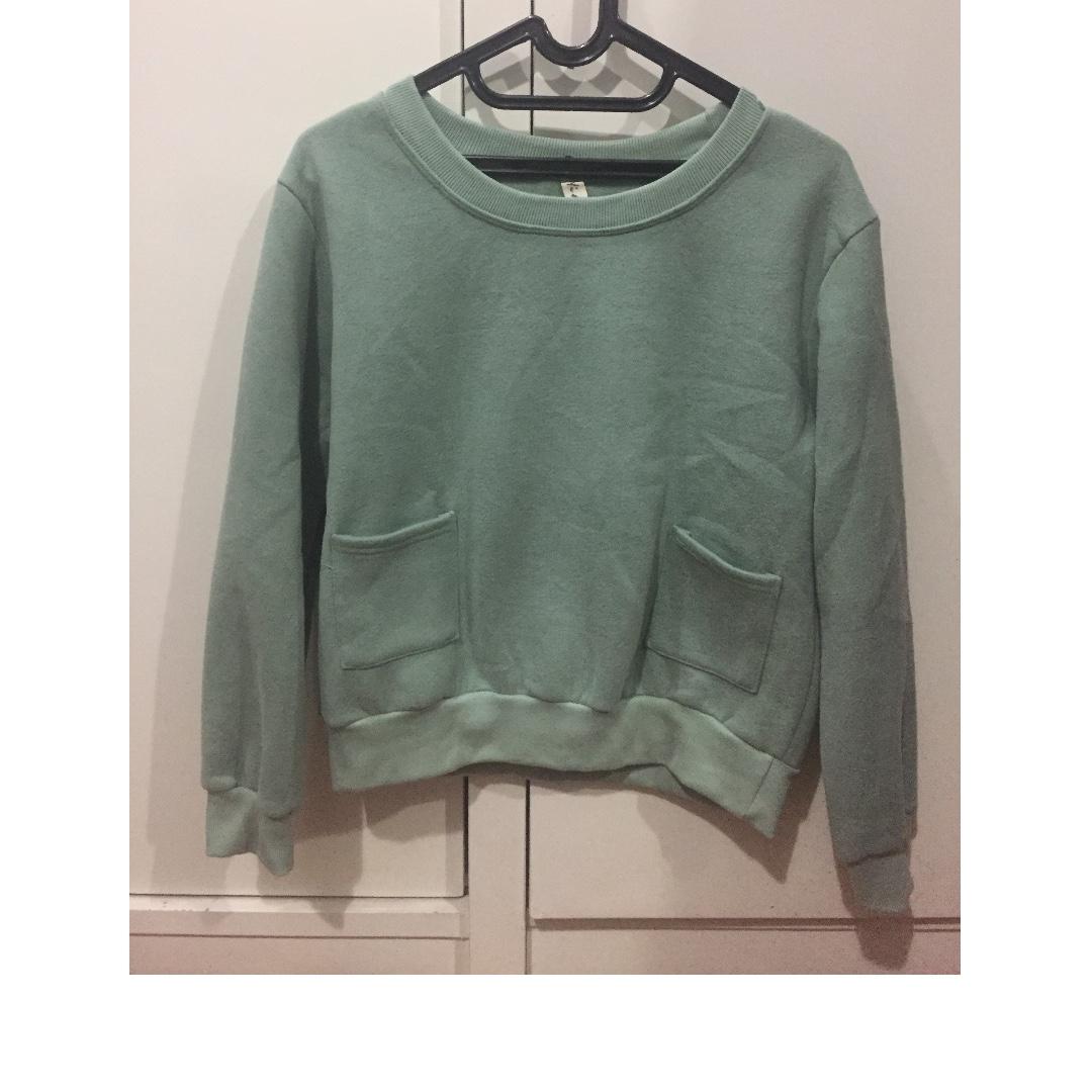 Sweater Polos Murah MInt Hijau