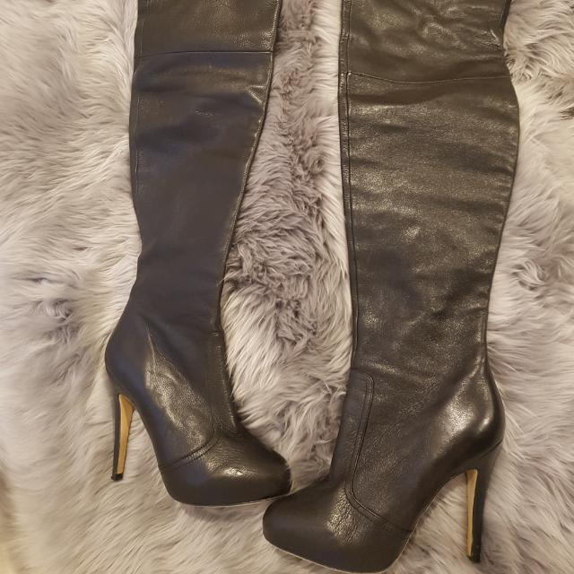 Tony Bianco Thigh High Black Leather Boots Size 7