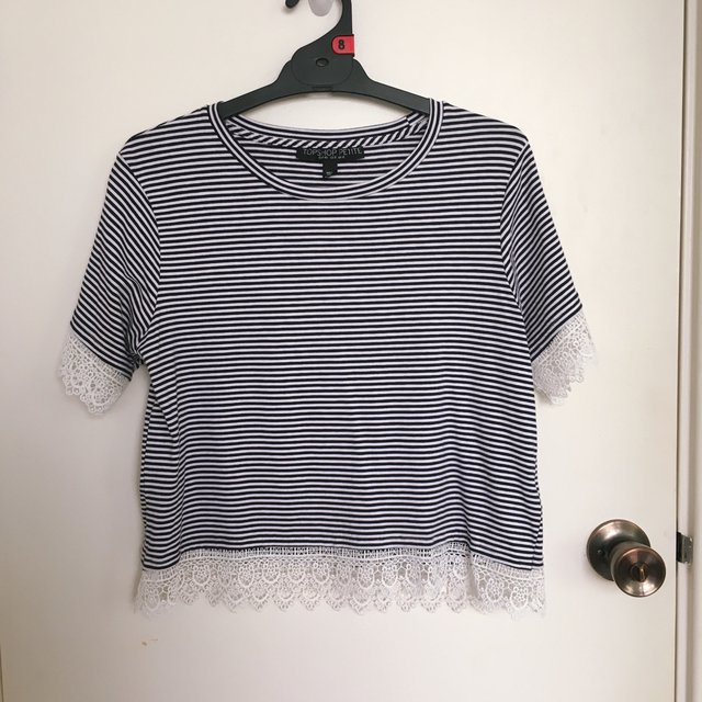 TopShop Petite Stripe Top with Lace Hems