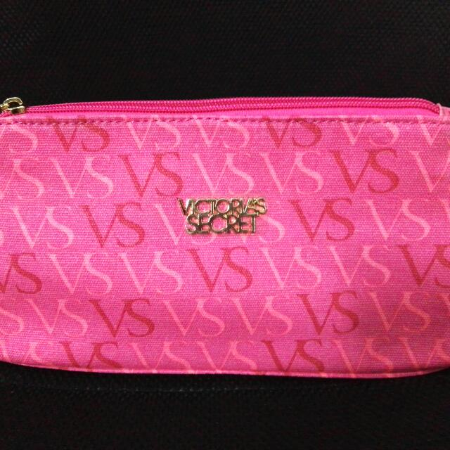 Victoria's Secret VS WORD Key Zipper Cosmetic Pouch - Pink