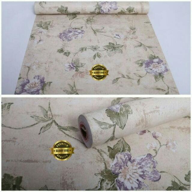 Wallpaper Dinding Motif Bunga Ungu Krem Ukuran 10 Meter, Home & Furniture on Carousell
