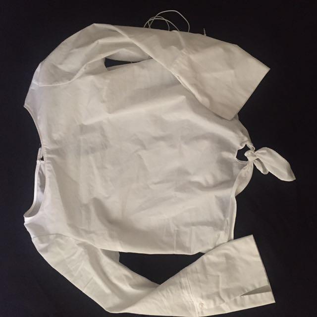 White Cropped Tie Shirt Drynamite