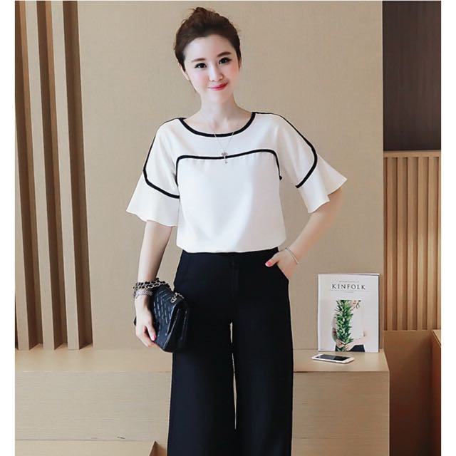 White Top Blouse With Lining