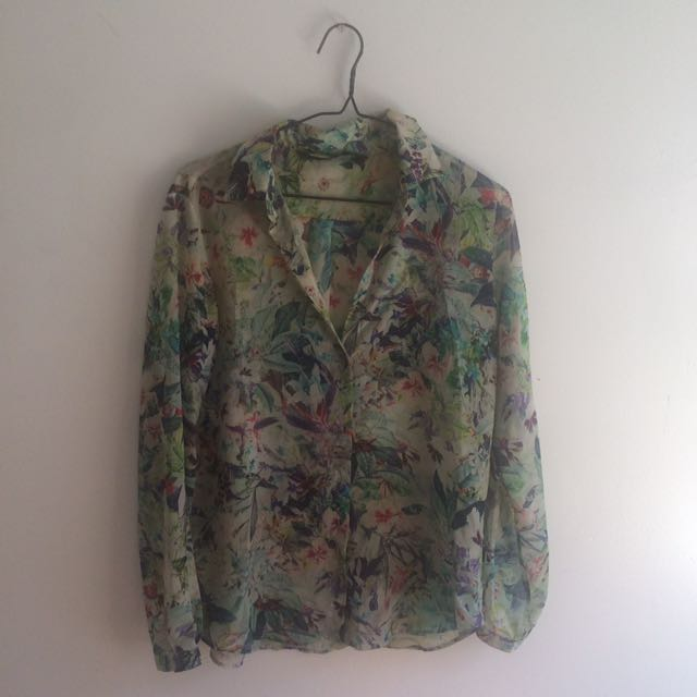 Women's Zara Blouse Semi Sheer Tropical Floral