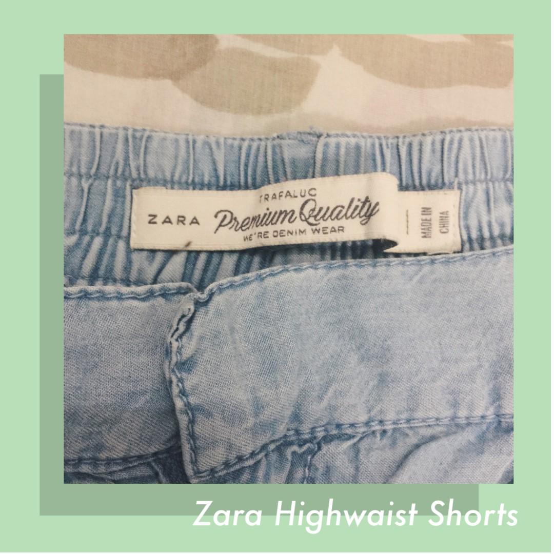 ❗️REPRICED❗️ZARA Acid/Light Wash High Waist Shorts