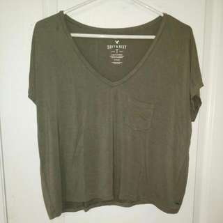 American Eagle Soft & Sexy Army Green T Shirt
