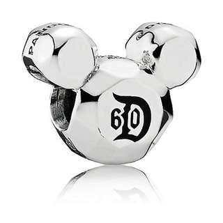 Brand New Authentic Pandora Charm Disney Park Exclusive Disneyland Resort Diamond Celebration 60th Anniversary 60 Dazzling Years