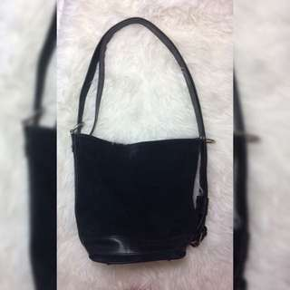 Suede Black Bucket Bag