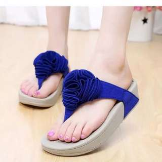 Blue sandal With Thick Heel.