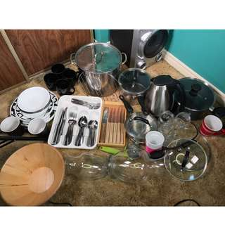 Big Kitchen Lot - Electric Kettle, Plates, Cups, Pots, cutlery+steak knifes n more