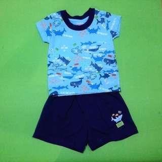 NEW Bebe by So-en Infant Shirt and Shorts Set-Blue Sharks