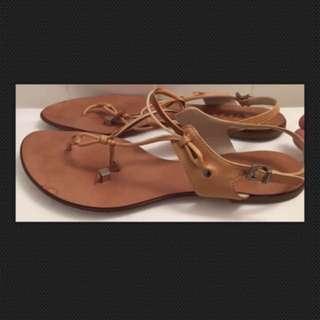 Versace Leather Flip Flop Sandals Size 6