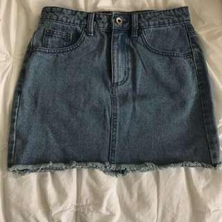 High Waisted Denim Skirt