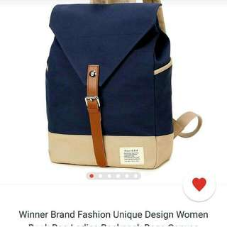 Navy Blue & Cream Backpack