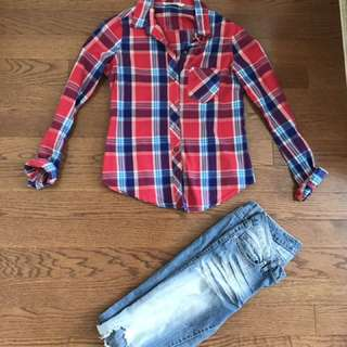 BLUE NOTES: Red & Blue Plaid Top