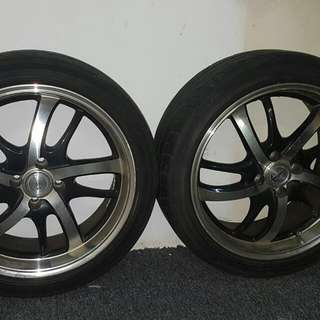 "2 X League LG250 Rims 17"" With 90% 205/45/17 Dunlop 84w Tyres"