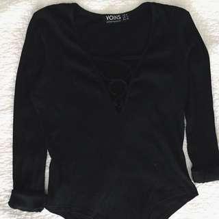 Black Ribbed Laceup Bodysuit