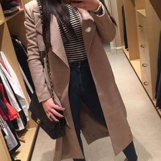Woolen Bardot Trench Coat Size 8