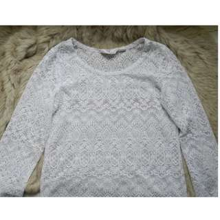 White Crotchet/Lace Top