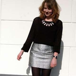 Monki Silver Skirt Size 38