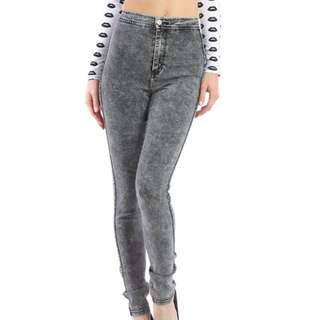 American Apparel Acid Wash Jeans In Black
