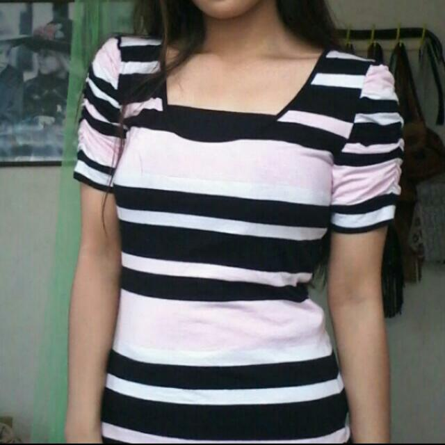 10/10 Cond!Baby Pink, Black And White Stripes Blouse