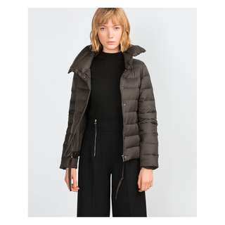 ZARA – GREY BROWN EXTRAIGHT QUILTED PUFFER COAT (SIZE XSMALL) WORN ONCE